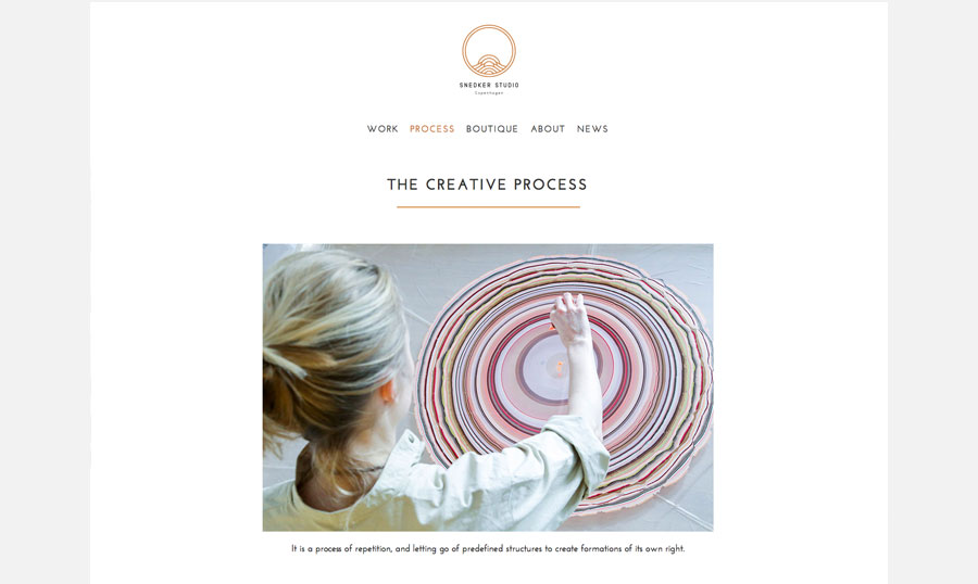 Website design inspiration, snedker studio, pernille snedker hansen, art